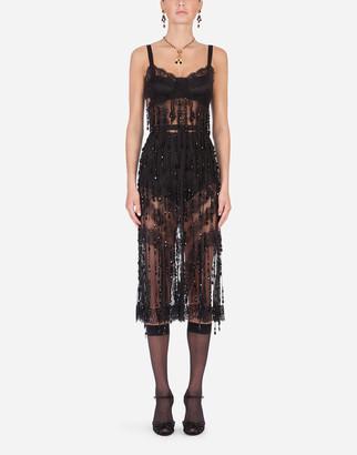 Dolce & Gabbana Sheath Dress With Bead Appliques