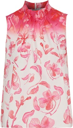 Peter Pilotto Ruched Floral-print Cotton-poplin Top