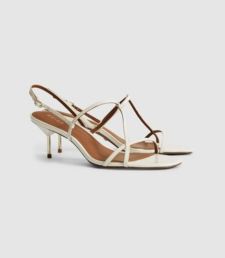 Reiss Ophelia - Leather Strappy Kitten Heels in White