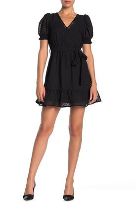 Blu Pepper Short Sleeve Surplice Neck Clip Dot Dress