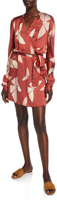 Forte Forte Papillons Gitans Long-Sleeve Cloque Wrap Dress