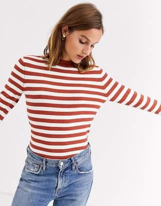 Gianni Feraud rust striped sweater-Brown