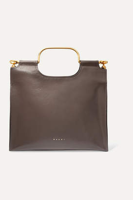 Marni Marcel Textured Glossed-leather Tote - Gray