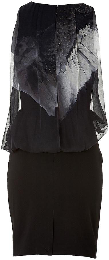 Prabal Gurung Silk Wing Print Blouson Dress in Black