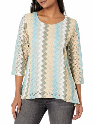 Alfred Dunner Women's Petite Lace Vertical Textured Top