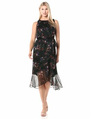 Vince Camuto Women's Sleeveless Ruffled Hem Contry Bouquet Belted Dress