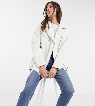Asos Tall ASOS DESIGN Tall oversized leather-look biker jacket in white