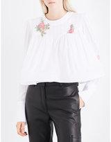Natasha Zinko Puff-shoulder floral-embellished cotton-voile top