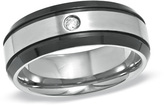 Zales 8.0mm Diamond Accent Two-Tone Titanium Wedding Band (2 Lines)