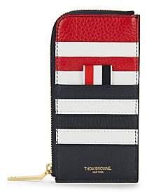 Thom Browne Men's Half-Zip Leather Card Case Wallet