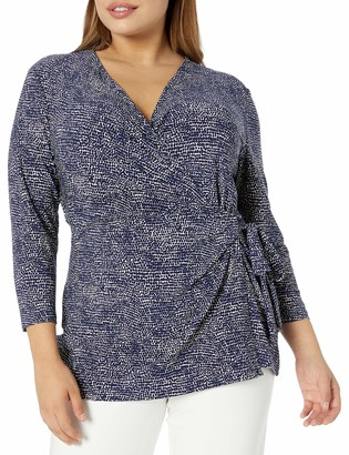 Anne Klein Women's Size Plus Printed ITY 3/4 Sleeve WRAP TOP