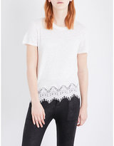The Kooples Sport Floral lace-trim linen-jersey T-shirt