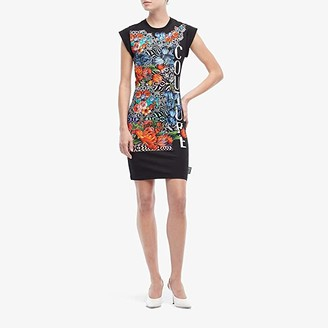 Versace Optical Flower Print Tee Shirtdress (Black) Women's Clothing