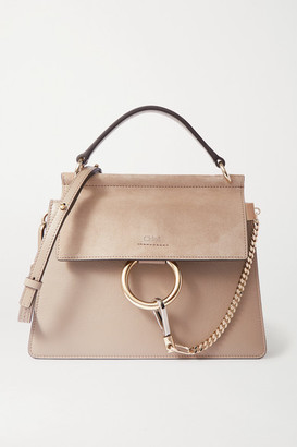 Chloé Faye Leather And Suede Shoulder Bag - Gray