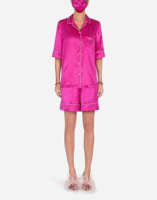 Dolce & Gabbana Embellished Pajama Set With Matching Face Mask