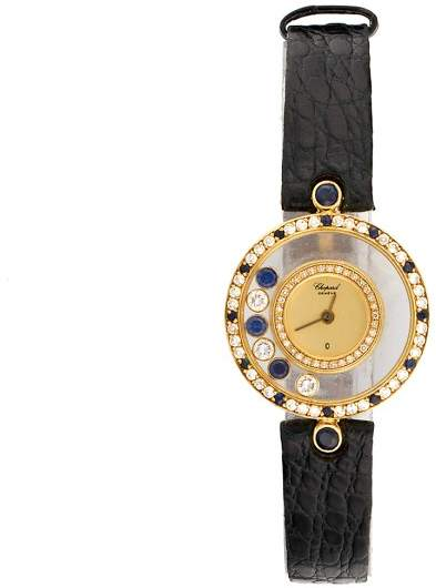 Chopard 18k Yellow Gold Happy Diamond and Sapphires 23mm Womens Watch
