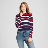 Mossimo Women's Striped Crop Pullover Navy