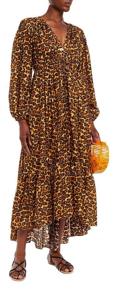 Thumbnail for your product : Zimmermann Amelie Gathered Leopard-print Silk Crepe De Chine Maxi Dress