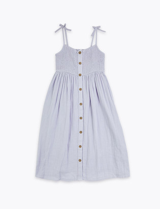 Marks and Spencer Pure Cotton Button Through Dress (6-16 Yrs)