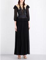 Alberta Ferretti Embellished silk-chiffon gown
