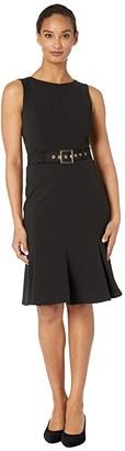 Calvin Klein Sleeveless Belted Dress with Ruffle Hem (Black) Women's Dress