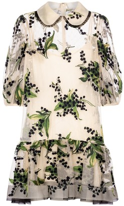 RED Valentino embroidered floral point d'esprit tulle minidress