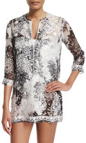 Marie France van Damme Embroidered-Front Printed Short Tunic Coverup