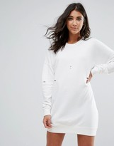 Missguided White Ripped Oversized Sweater Dress