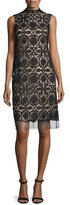Lela Rose Sleeveless Lace Shift Dress, Black