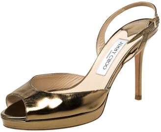 Jimmy Choo Gold Patent Leather Peep toe Slingback Sandals Size 38