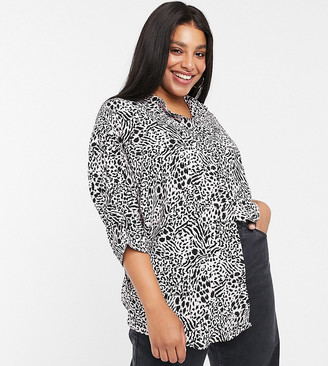 ASOS DESIGN Curve long sleeve oversized shirt in leopard print