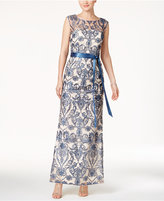 Adrianna Papell Embroidered A-Line Gown