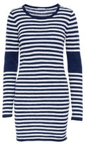 Minnie Rose Linen Striped Long Sleeve Dress with Elbow Patch