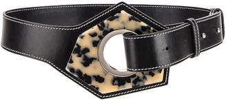 Ganni Leather Acetate Belt in Black | FWRD