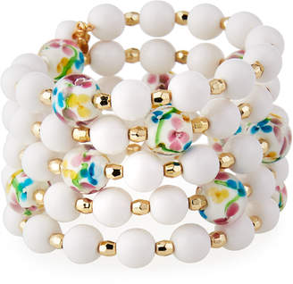 Emily and Ashley Greenbeads By White Floral Wrap Bracelet