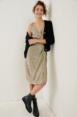 Anthropologie Kari Metallic Midi Dress By in Gold Size XS