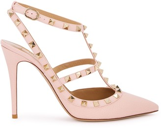 Valentino Garavani Rockstud 100 Light Pink Grained Leather Pumps