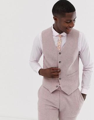 ASOS DESIGN wedding skinny suit vest in pink herringbone