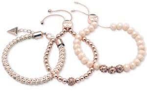 GUESS Rose Gold-Tone 3-Pc. Set Pave Bead & Nylon Cord Bracelets
