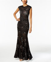 Betsy & Adam Embellished Lace Mermaid Gown
