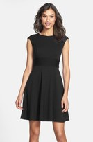 Eliza J Pintucked Waist Seamed Ponte Knit Fit & Flare Dress