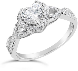 Sterling Forever Sterling Silver Heart CZ Engagement Ring