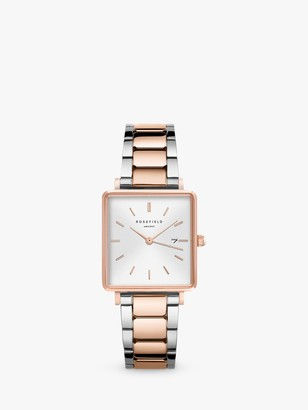 ROSEFIELD QWSSRG-Q044 Women's The Boxy Date Bracelet Strap Watch, Silver/Rose Gold