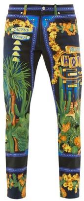 Versace Palm Springs-print Straight-leg Jeans - Mens - Blue Multi