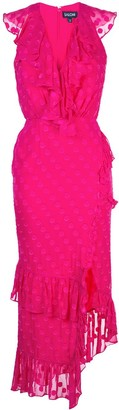 Saloni fitted polka dot dress