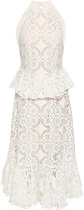 Lover Cotton-blend Lace Peplum Midi Dress