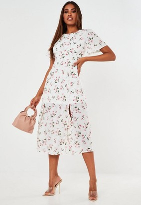 Missguided White Floral Print Flutter Sleeve Midi Dress