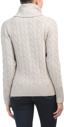 Cashmere Heavy Cable Knit Cowl Neck Sweater