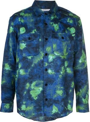 Julien David Woven Tie-Dye Print Shirt