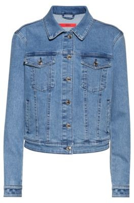 HUGO BOSS Alex Fitted Jacket In Stretch Denim With Studded Collar - Turquoise
